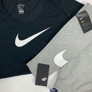 Nike Bundle Black Top & Nike Gray Cotton Leggings